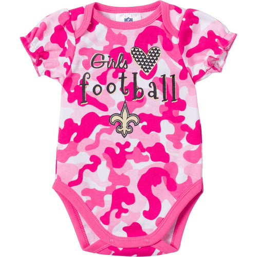 Baby Saints Fan Pink Camo Onesie