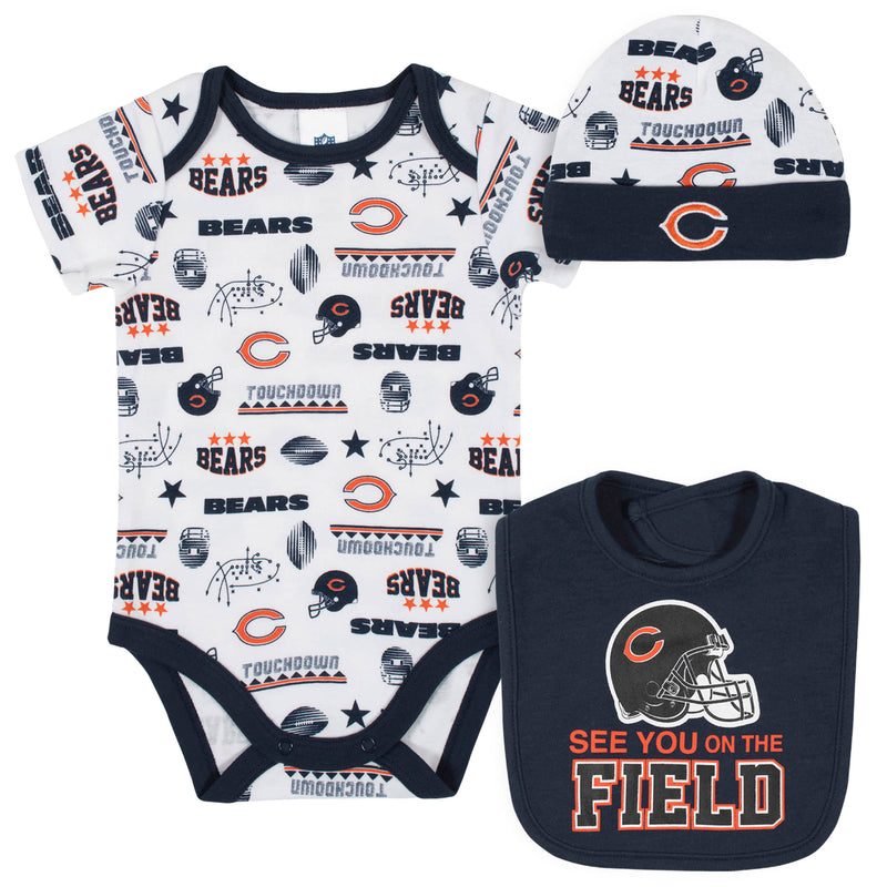 Bears Baby Boys 3-Piece Bodysuit, Bib, and Cap Set
