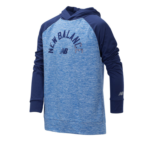 New Balance Boys Lapis Blue Long Sleeve Hooded Performance Top