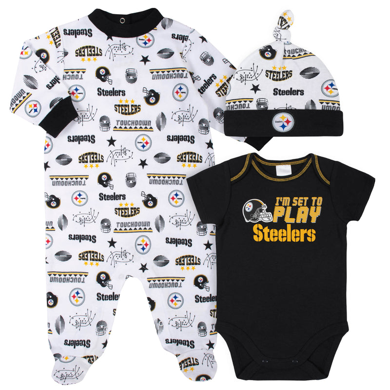Steelers Baby Boys 3-Piece Bodysuit, Sleep 'N Play, and Cap Set
