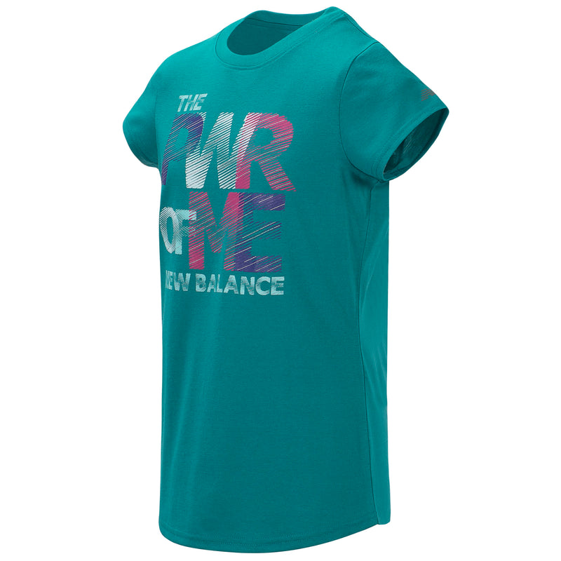 New Balance Girls Amazonite Short Sleeve Graphic Tee