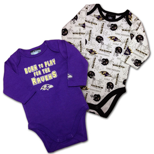 Ravens Long Sleeved Onesies 2 Pack