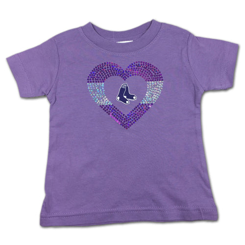 Sparkly Heart Lavender Red Sox Tee