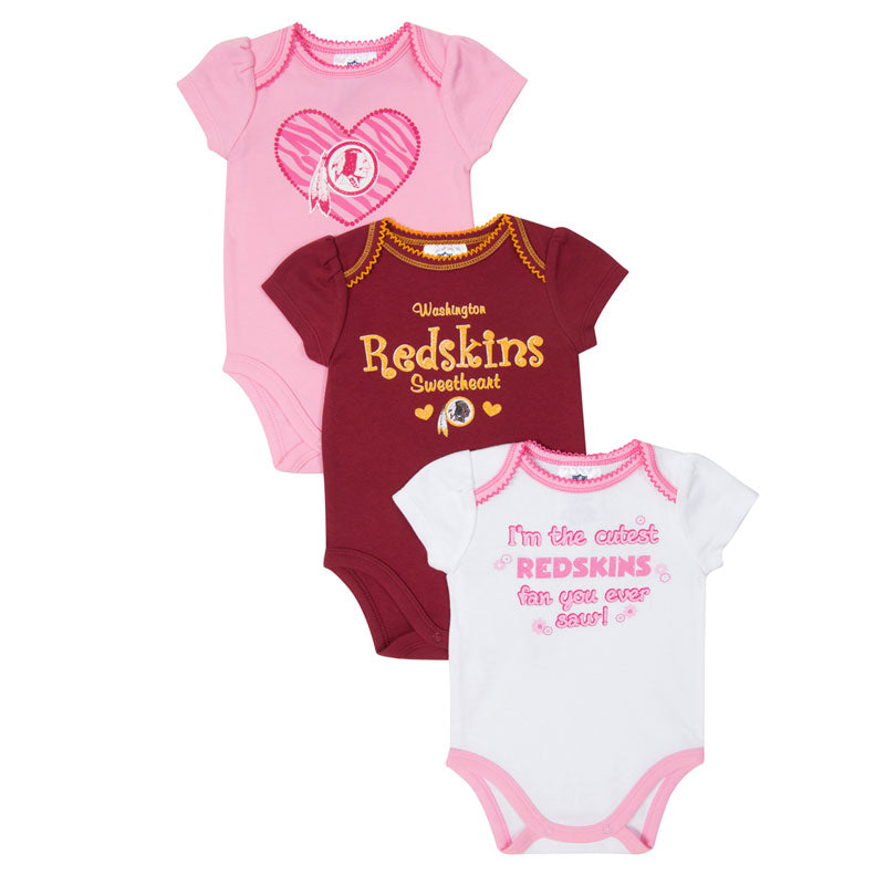 Baby Redskins Girl 3-Pack Onesies