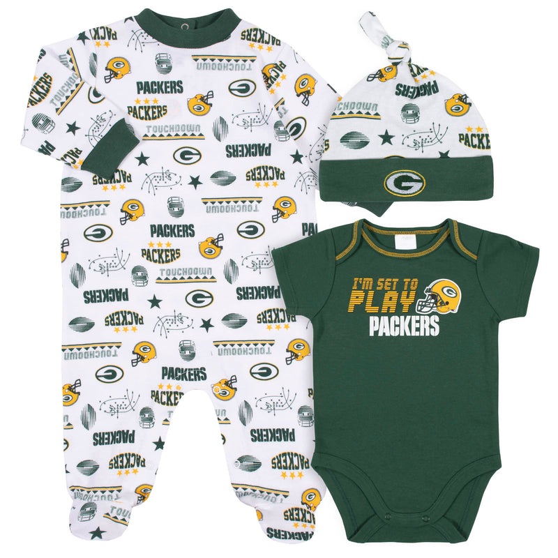 Packers Baby Boys 3-Piece Bodysuit, Sleep 'N Play, and Cap Set