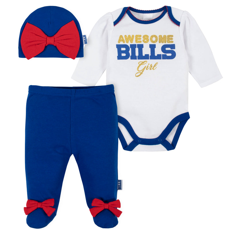 Awesome Bills Baby Girl Bodysuit, Footed Pant & Cap Set