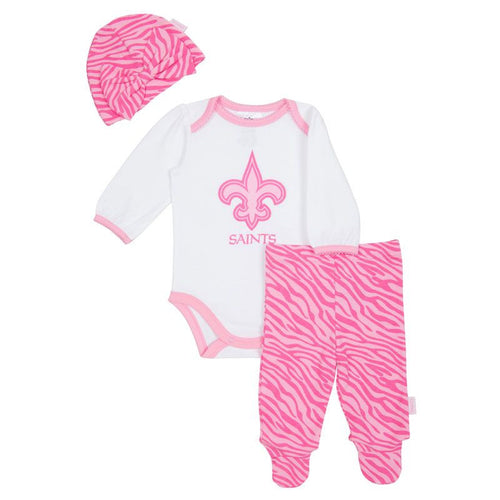 Saints Baby Pink Onesie, Footed Pant & Cap
