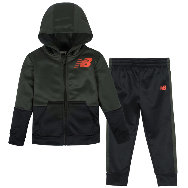 New Balance 2-Piece Boys Defense Green/Black Fleece Jacket Set