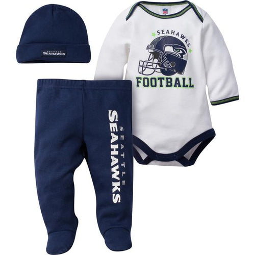 Seattle Seahawks Baby Bodysuit, Pant and Cap Set