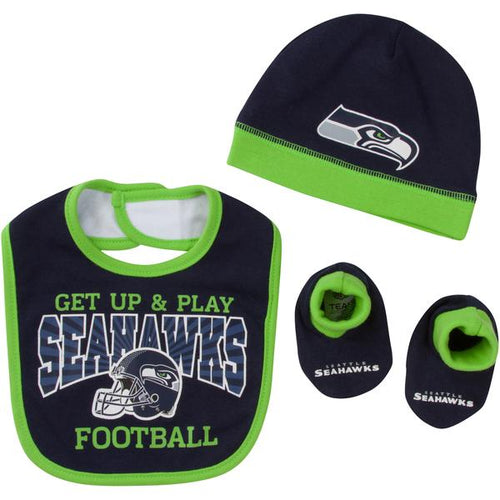 Seattle Seahawks Baby Boy Bib, Hat & Bootie Set