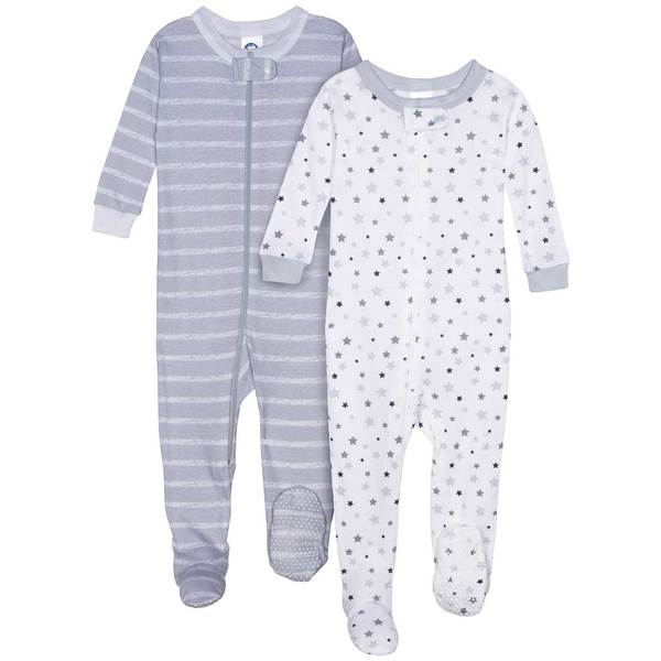 All-Stars and Stripes Organic Cool Gray Infant Sleeper Set