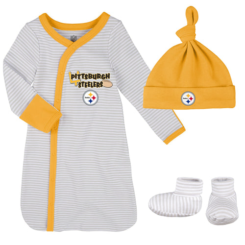 Steelers Newborn Gown, Cap, and Booties