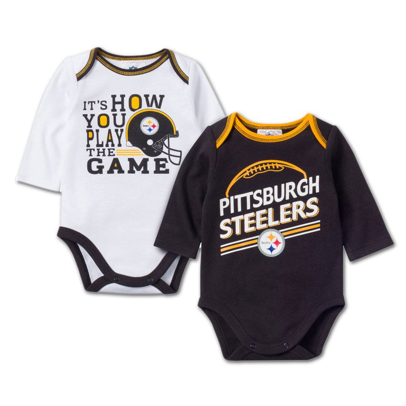 Baby Steelers Fan Long Sleeve Onesie 2 Pack