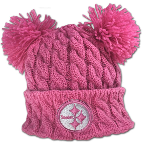 Steelers Pink Double Pom Pom Hat