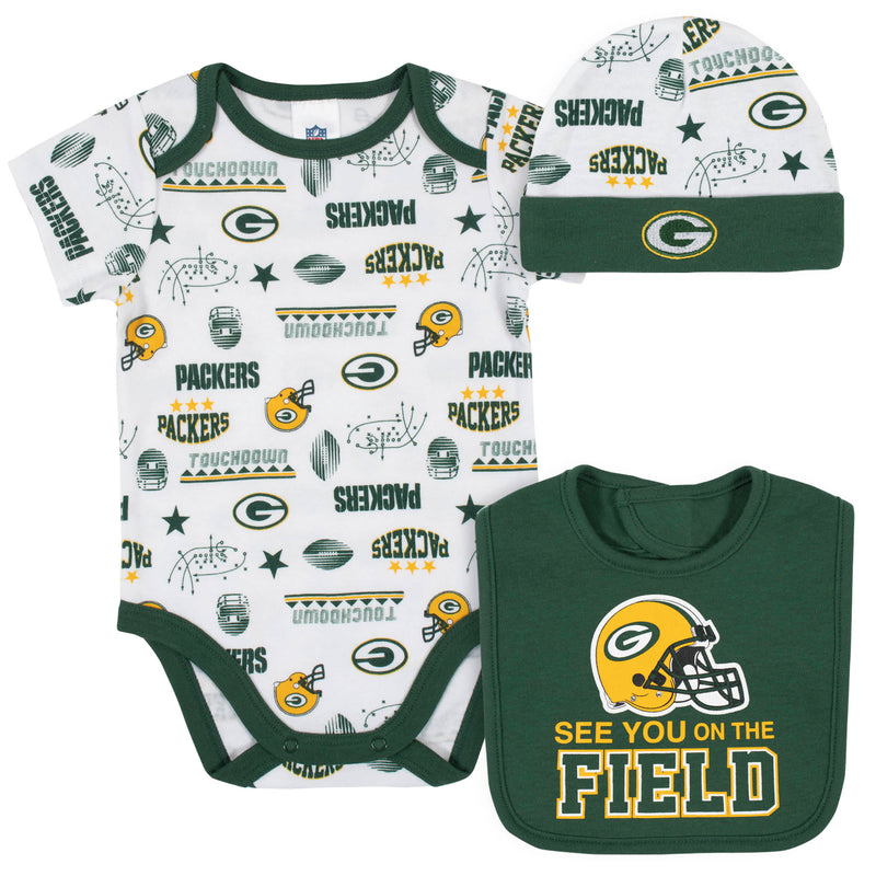 Packers Baby Boys 3-Piece Bodysuit, Bib, and Cap Set