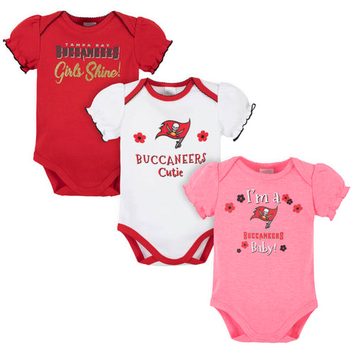 Buccaneers Girls Shine 3-Pack Short Sleeve Bodysuits