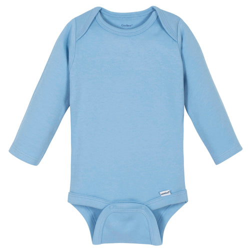 Boys Light Blue Classic Long Sleeve Onesies® Brand Bodysuit