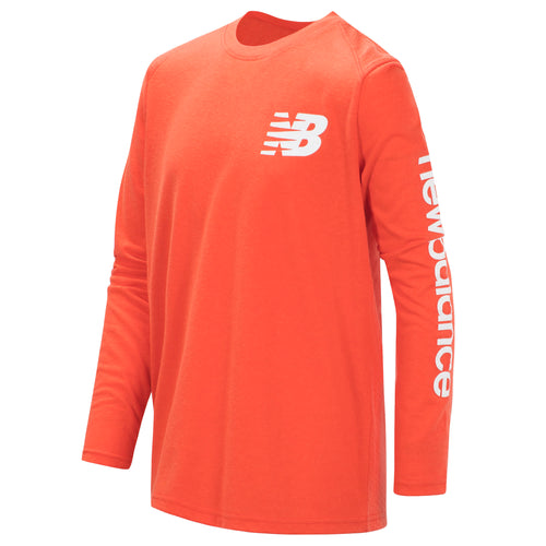 New Balance Boys Coral Glow Long Sleeve Tee