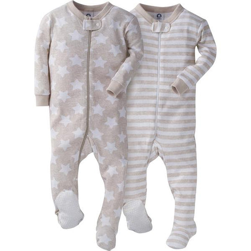 All-Stars and Stripes Organic Tan Infant Sleeper Set