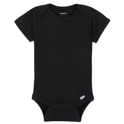 Boys Black Classic Short Sleeve Onesies® Brand Bodysuit