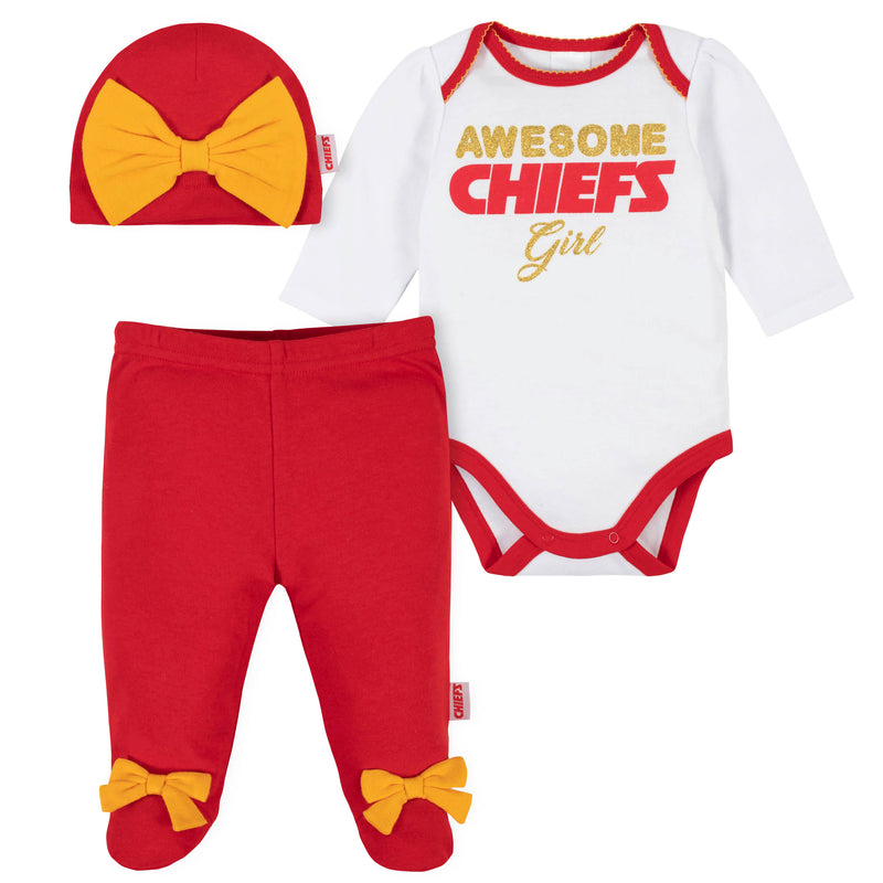 Awesome Chiefs Girls Baby Bodysuit, Footed Pant & Cap Set