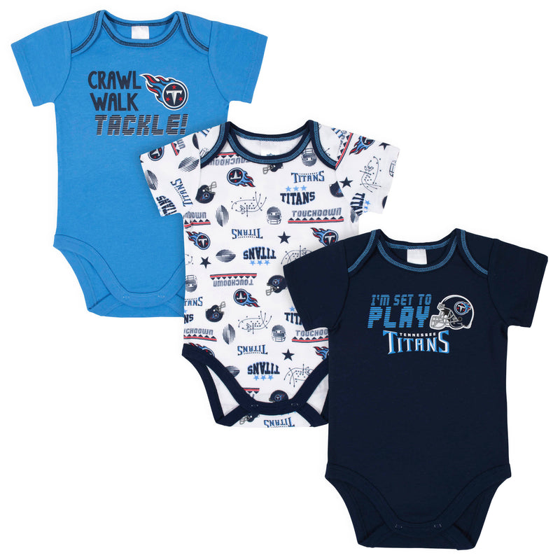 Titans All Set to Play 3-Pack Short Sleeve Bodysuits