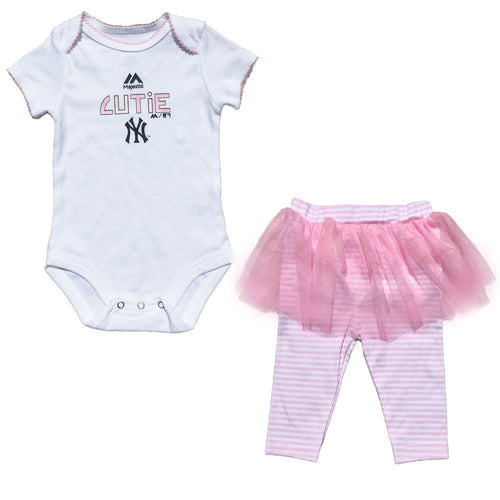 Yankees Baby Girl Pink Creeper and Tutu Leggings