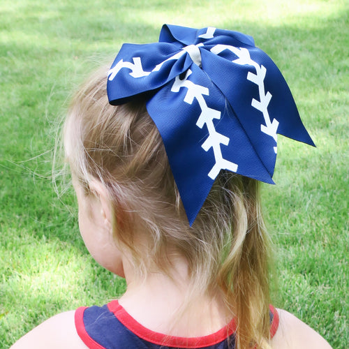 Sporty Navy Banded Bow