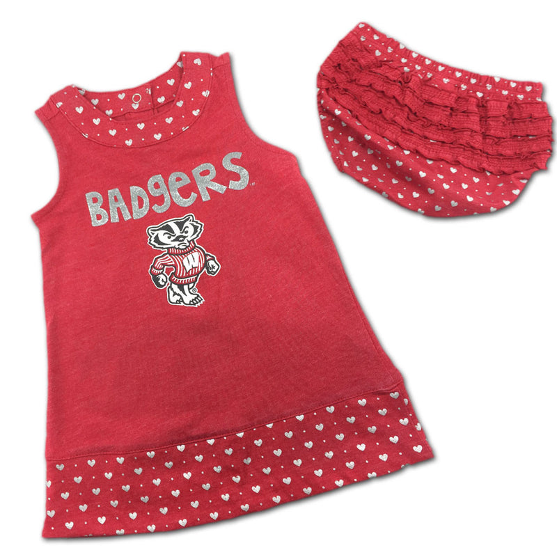 Wisconsin Spirited Heart Dress with Bloomers