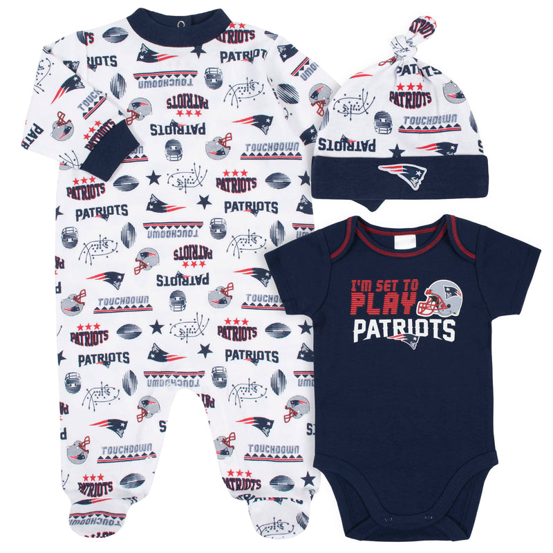 Patriots Baby Boys 3-Piece Bodysuit, Sleep 'N Play, and Cap Set
