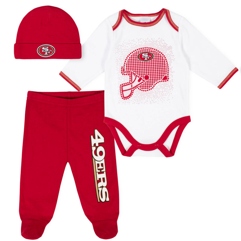 49ers Baby Boys 3-Piece Bodysuit, Pant, and Cap Set