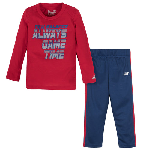 New Balance 2-Piece Boys Tempo Red/Tech Blue Long Sleeve Shirt and Pant Set
