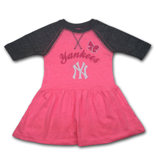 Yankees Toddler Pink Baseball Shirt Dress