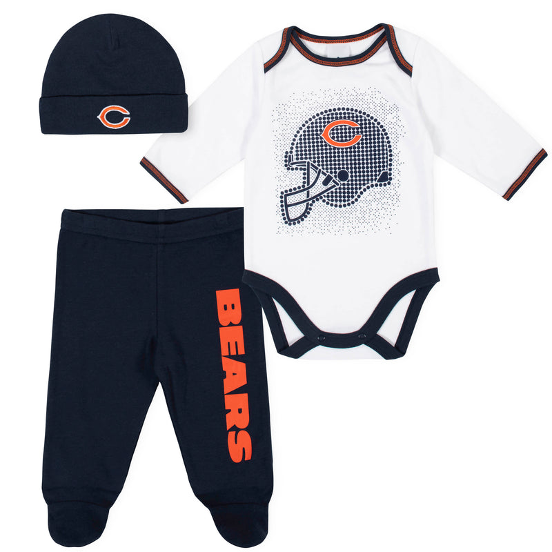 Bears Baby Boys 3-Piece Bodysuit, Pant, and Cap Set