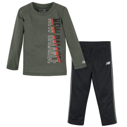 New Balance 2-Piece Boys Slate Green/Black Long Sleeve Shirt and Pant Set