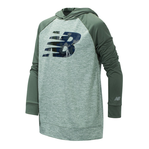 New Balance Boys Slate/Cedar Long Sleeve Hooded Performance Top
