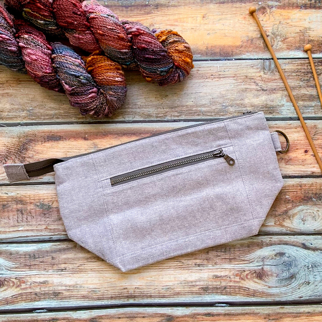Woodsy and Wild Sapling Bag- *New* Steel Grey Zippered Knitting Project Bag