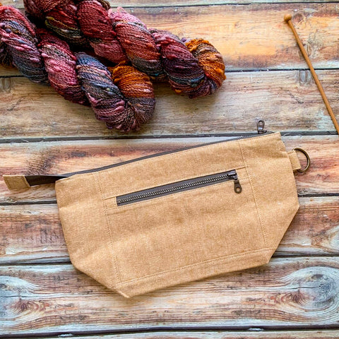 Woodsy and Wild Sapling Bag- Leather Zippered Knitting Project Bag