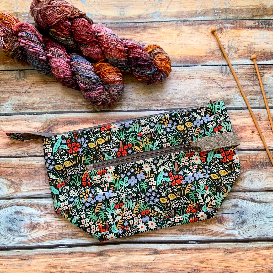 Woodsy and Wild Birch Bag- Meadow Rifle Paper Co Canvas Zippered Knitting Project Bag