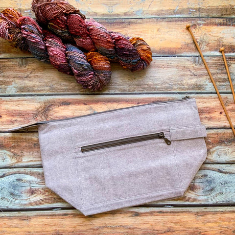 Woodsy and Wild Birch Bag- *New* Steel Grey Zippered Knitting Project Bag