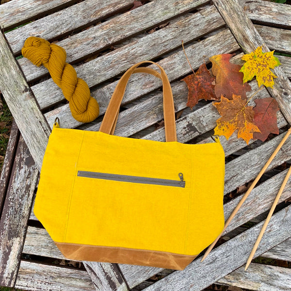 Woodsy and Wild Maple Tote- Autumn Collection Zippered Knitting Project Bag Knitting Tote