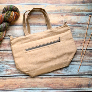 Woodsy and Wild Maple Tote- Leather Zippered Knitting Project Bag Knitting Tote