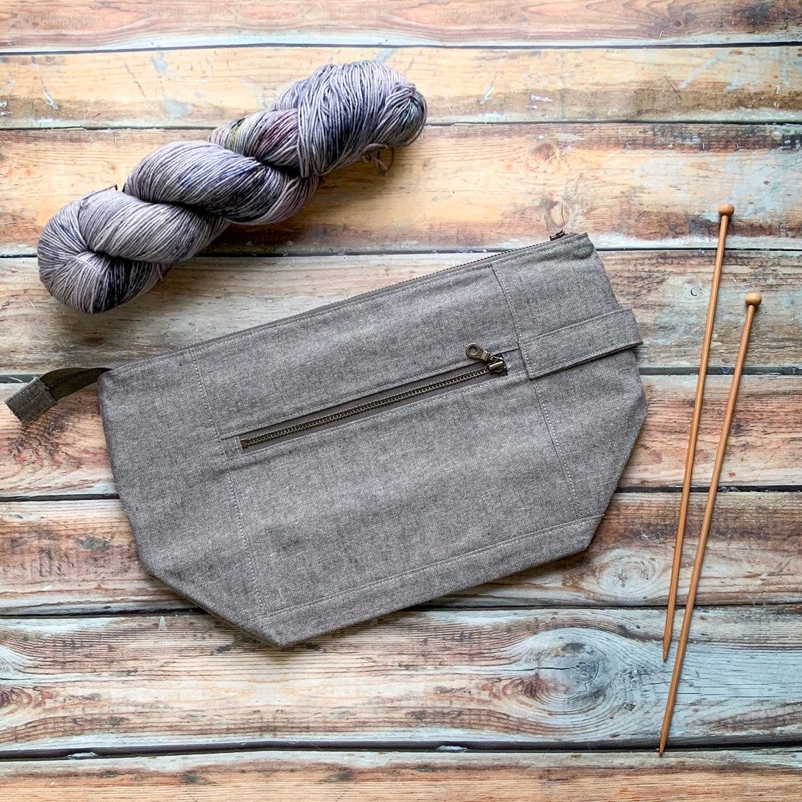 Woodsy and Wild Birch Bag- Grey Zippered Knitting Project Bag