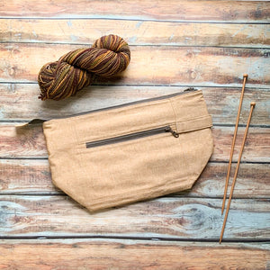 Woodsy and Wild Birch Bag- Leather Zippered Knitting Project Bag