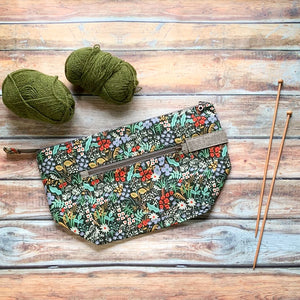 Woodsy and Wild Birch Bag- Meadow Zippered Knitting Project Bag
