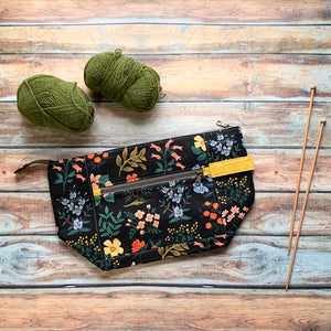 Woodsy and Wild Birch Bag- Wildflower Field Zippered Knitting Project Bag