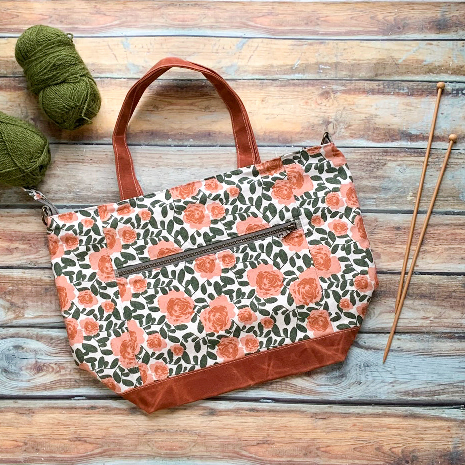 Woodsy and Wild Maple Tote- Desert Rose Zippered Knitting Project Bag Knitting Tote