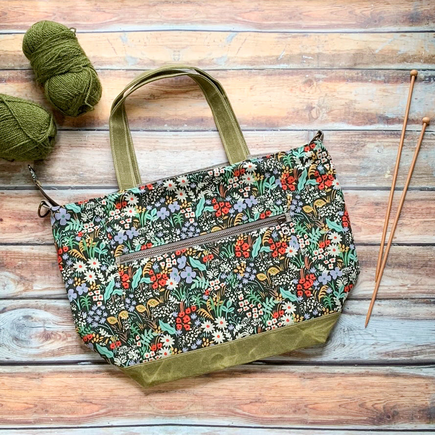 Woodsy and Wild Maple Tote- Meadow Zippered Knitting Project Bag Knitting Tote