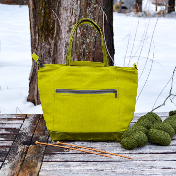 Pickle Maple Tote- Linen Zippered Knitting Project Bag Tote Bag (Woodsy and Wild Maple Tote)