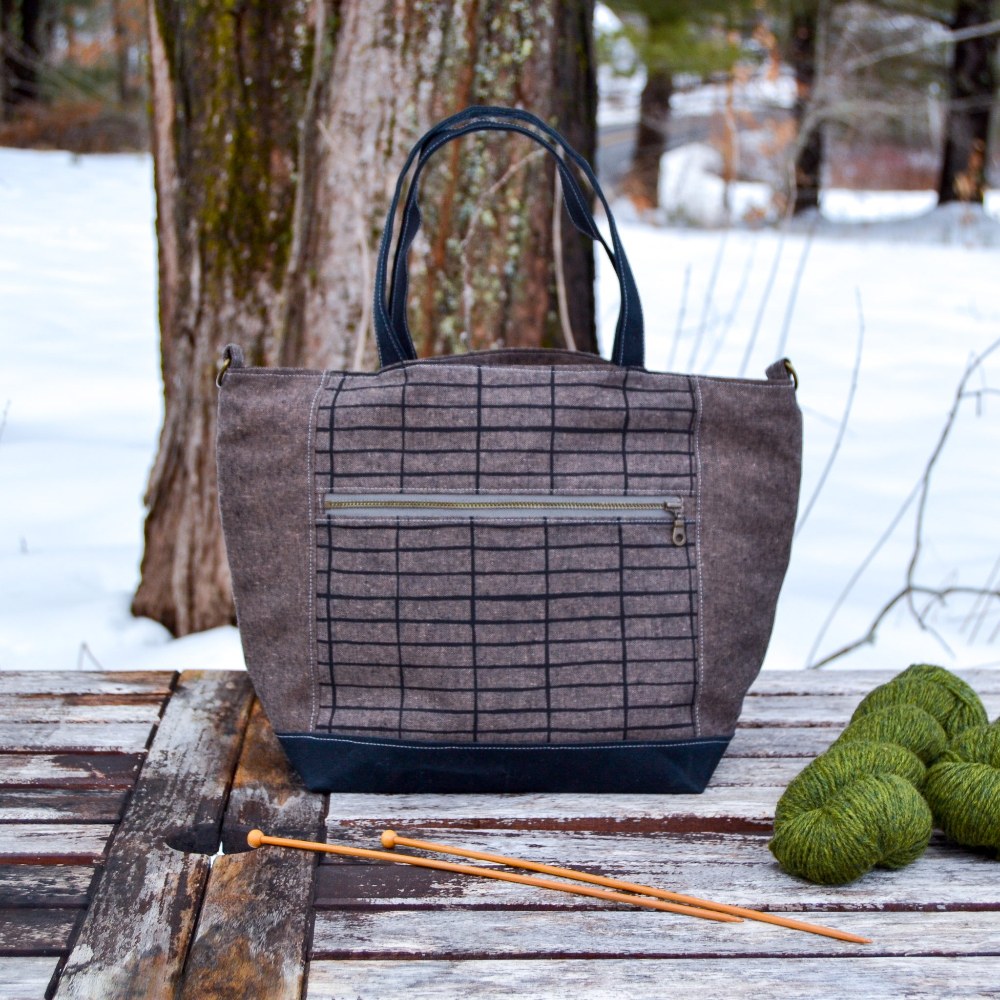 Bark Lines Maple Tote- Linen Zippered Knitting Project Bag Tote Bag (Woodsy and Wild Maple Tote)